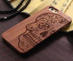 03 cool skull engraving wood phone case for iphone, iphone 5s protective case, unique iphone 6 case for men