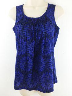 Banana Republic Sz XS Top #Cotton Blue Black Print #Smocked Neck Sleeveless Blouse #BananaRepublic