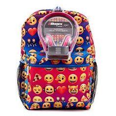 Girls Fab Emoji Rainbow Backpack & Headphones Set