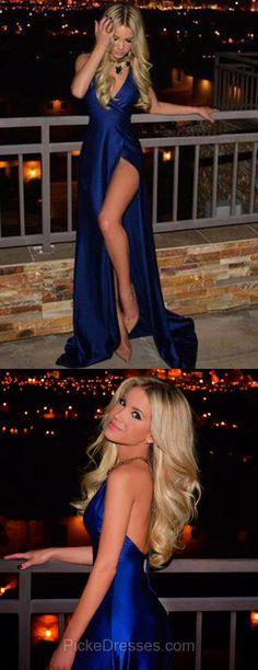 Royal Blue Prom Dresses Long, 2018 Party Dresses Cheap, V-neck Formal Dresses Sexy, Sheath/Column Pageant Dresses Backless, Silk-like Satin Evening Dresses Split Front