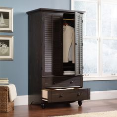 Amazon.com   Sauder Harbor View Armoire In Antiqued Paint   Bedroom Armoires