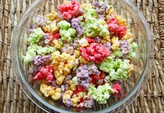 Kool-Aid Popcorn - A friend of mine made this to match the colors & theme of my baby shower. It was GOOD!
