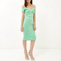 Light green bardot midi dress