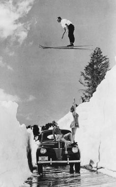 This must be Tahoe - vintage ski jumping. Vintage Ski Posters, Ski Jumping, Ski And Snowboard, Snowboarding, Vintage Photography, Northern California, Art Images, Old Photos, Black And White Photography