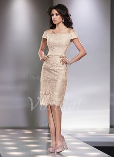 Mother of the Bride Dresses - $147.66 - Sheath/Column Off-the-Shoulder Knee-Length Lace Mother of the Bride Dress With Beading Sequins (0085057603)