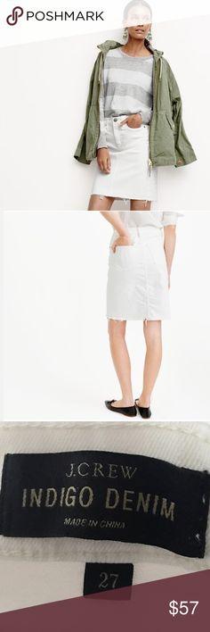 J. Crew Denim Pencil Skirt NWOT!! Crew white denim pencil skirt has frayed hem. Two front and rear pockets. 98% cotton & 2% elastane. Size 27. J. Crew Skirts Pencil