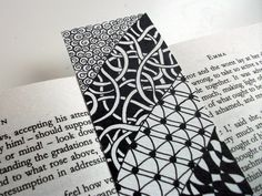 Original Art Bookmark, Hand Drawn Zendoodle, Mother's Day Gift Idea, Black and White. $25.00, via Etsy.