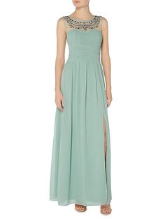 Little Mistress Embellished Neckline Maxi Dress