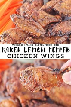 Baked Lemon Pepper Chicken Wings - Amazingly flavorful and extra crispy easy oven baked wings covered in freshly squeezed lemon and cracked black pepper These wings make the perfect appetizer game day snack or movie night spread Chicken Wing Recipes, Healthy Chicken Recipes, Paleo Recipes, Real Food Recipes, Delicious Recipes, Instant Pot, Baked Lemon Pepper Chicken, Crockpot, Chicken Stuffed Peppers