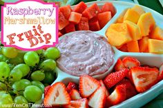 Raspberry Marshmallow Fruit Dip | MomOnTimeout.com #fruit #dip