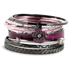 Juicy Couture 'Winter Bloom' Bangles (Set of 8) (89 CAD) ❤ liked on Polyvore featuring jewelry, bracelets, accessories, pulseiras, pulseras, women, purple jewelry, juicy couture jewellery, juicy couture jewelry and flower jewelry