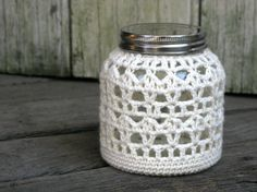 Crocheted Lantern  Candle holder   Tea candle  Glass jar by Chompa, $20.00