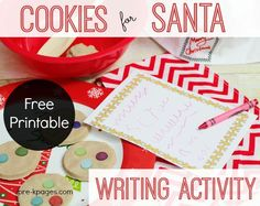 Cookies for Santa Printable Activity for Preschool and Kindergarten. Fine motor fun with play dough combined with motivation to write for a purpose makes learning FUN!