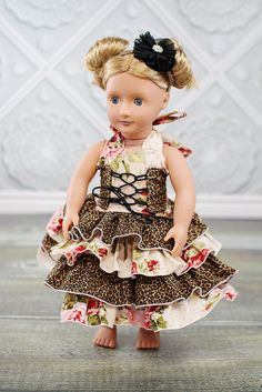 """Create Kids Couture Corset Ruffle Dress PDF Pattern for 18"""" Doll"""