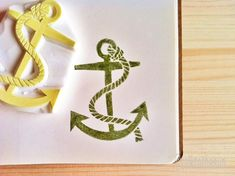 anchor. hand carved rubber stamp. hand carved stamp. vintage marine anchor stamp. handmade.. $20.00, via Etsy.