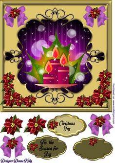 Elegant Christmas purple card front  on Craftsuprint designed by Donna Kelly - Elegant gold Christmas card front, beautifully framed. Vibrant purple background with a fabulous center piece with candles , Vibrant poinsettias adorn the corners.includes decoupage and three labels one blank, sentiments include: Christmas Joy and Tis the Season for joy - Now available for download!
