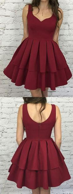 chic burgundy tiered short prom dress, fashion sleeveless burgundy homecoming dress, sexy burgundy party dress with pleats