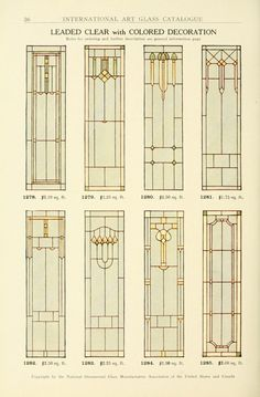 View the stained glass windows that were commercially available during the Art Nouveau era of The below plates are from the 1914 catalog of the National Ornamental Glass Manufacturers Association of the United States and Canada. Stained Glass Door, Leaded Glass Windows, Stained Glass Designs, Stained Glass Panels, Stained Glass Projects, Stained Glass Patterns, Colores Art Deco, Jugendstil Design, Art Nouveau Pattern