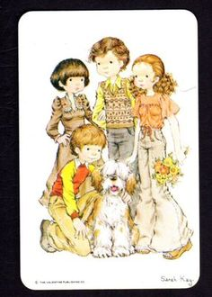SARAH KAY Swap Card - Teenagers with Old English Sheepdog (BLANK BACK)