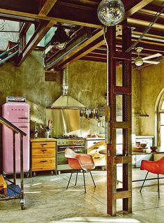 Eclectic Home in Madrid | Vintage Fiberglass Shell Chairs on H Bases | Photography by Gonzalo Machado