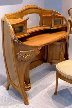 Let's continue our travel through time and design with this selection of Art Nouveau / Art Deco tables and desks. Curvy, glossy and elegant, they definitely have a strong identity! Funky Furniture, Unique Furniture, Vintage Furniture, Furniture Design, Rustic Furniture, Outdoor Furniture, Plywood Furniture, Cheap Furniture, Furniture Decor
