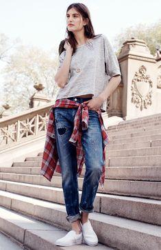 Madewell slim boyjean: rip and repair edition worn with cleanline crop sweatshirt + Vans® leather slip-ons. #denimmadewell