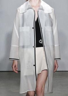 White jacket with mesh panels & pockets; chic sporty fashion details // Balenciaga Resort 2015