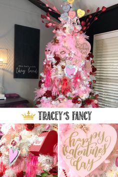 Transform your Christmas tree into a Valentine's Day tree! It's a fun way to keep your tree out a little longer! - By Tracey's Fancy Diy Valentine's Day Decorations, Valentines Day Decorations, Christmas Tree Decorations, Holiday Decor, Valentine Tree, Valentine Day Crafts, Happy Valentines Day, Target Valentine's Day, White Christmas Trees