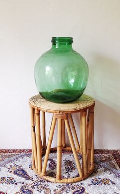 Vintage bamboo table or plant stand by VelvetEra on Etsy