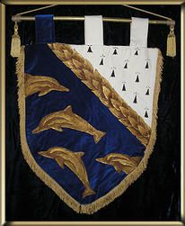 Hand painted medieval banner, dolphin and fur