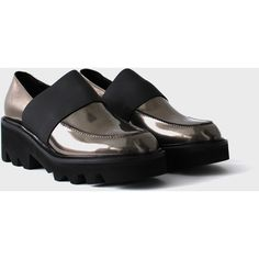 Metallic Loafer (€320) ❤ liked on Polyvore featuring shoes, loafers, slip on shoes, slip-on loafers, metallic shoes, loafer shoes and long shoes