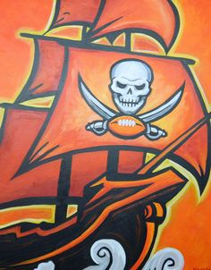 Tampa Bay Buccaneers ship painting sports art by crockerart, $50.00