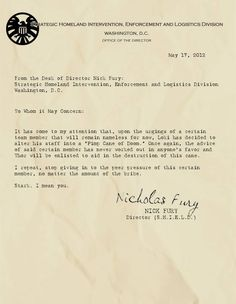 S.H.E.I.L.D. Memo - From the desk of Nick Fury