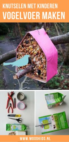 Make a bird feed house yourself step by step plan Craft in the fall or winter together with your child (ren) such a nice bird feed house. Winter Crafts For Kids, Winter Kids, Winter Christmas, Diy For Kids, Christmas Tree, Hello Winter, Bird Feeders, Diy And Crafts, Craft Projects