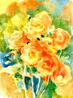 Ranunculus orange flowers original watercolor by ORIGINALONLY