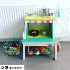 """Terrific Photo Fill the advent calendar: With DIY accessories for shops & children's kitchens Popular A """"concept"""" works through the Sites and pages with this system world: Ikea Hacks. That is simp Diy Kids Kitchen, Diy Outdoor Kitchen, Toy Kitchen, Recycled Furniture, Ikea Furniture, Bekvam Ikea, Baby Zimmer Ikea, Ikea Step Stool, Childrens Kitchens"""