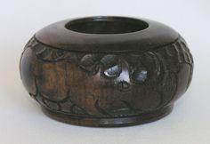"Vtg African small hand-carved hardwood bowl 3⅜"" 8.5cm tribal art rhino, elephant"