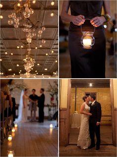 hanging lights, top left. via wedding chicks.
