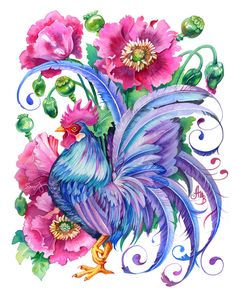 Original watercolor painting of a blue rooster surrounded by purple peonies. Fantasy Kunst, Fantasy Art, Watercolor Bird, Watercolor Paintings, Watercolors, Rooster Art, Indigenous Art, Bird Art, Art Drawings