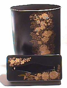 1950s Black & Gold TOLEWARE Waste Can and Tissue Box Set Metal Tissuebox by Ransburg