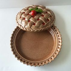 ceramic pie dish with lid.....just like grandma used to have....view this and more at JewelzAndBeyond on Etsy