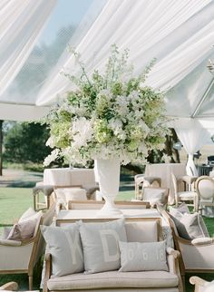 The Bride Always Knew She Wanted to Get Married Here Since She Was Just a Little Girl! Tent Decorations, Wedding Reception Decorations, Floral Wedding, Wedding Flowers, Minimalist Wedding Decor, Wedding Lounge, Outdoor Wedding Inspiration, Marquee Wedding, Here Comes The Bride
