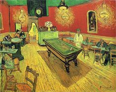 The Night Cafe, 1888 by Vincent van Gogh. Post-Impressionism. interior. Yale University Art Gallery, New Haven, Connecticut, USA