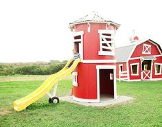 This would be cool with those big wooden spools! The Silo Playhouse is 6 ft round and two floors with a grain auger style slide and a ladder. We deliver and install nationwide. Kids Outdoor Play, Outdoor Play Areas, Kids Play Area, Backyard For Kids, Outdoor Fun, Build A Playhouse, Playhouse Outdoor, Backyard Playground, Playground Ideas