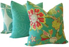 Pensacola-Floral Turquoise Decorative Pillow-Indoor Outdoor Pillow Cover-Lumbar Pillow-18x18, 20x20, 22x22-Outdoor Pillow-Euro Shams