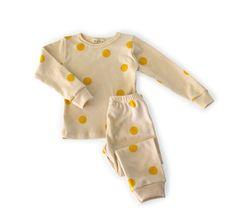 organic cotton spotted pajamas - yellow dot, by Mabo