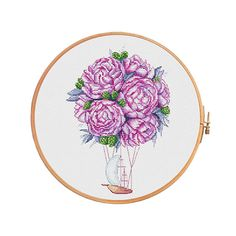 Aerial peonies - cross stitch pattern - modern cross stitch flowers peony wedding cute air ballon feng shui boho hippie love