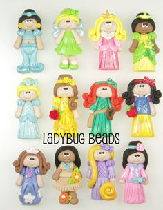 D. Princesses 12 to choose from- Polymer Clay Beads. $4.00, via Etsy.