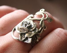 925 HEAVY Sterling Silver Rose and leaf by 911VintageAddiction