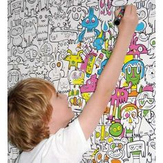 DIY Cartoon Wall Treatments - Create your Own Color Scheme with Burgerdoodle Color-In Wallpaper (GALLERY)
